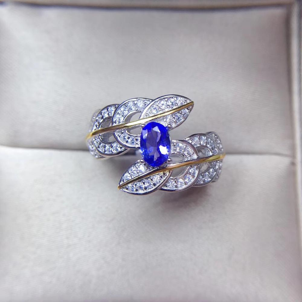 Простой и изысканный стиль, натуральный танзанит кольцо, дамы классический стиль, кольцо, 925 серебряный материал Кольца      АлиЭкспресс