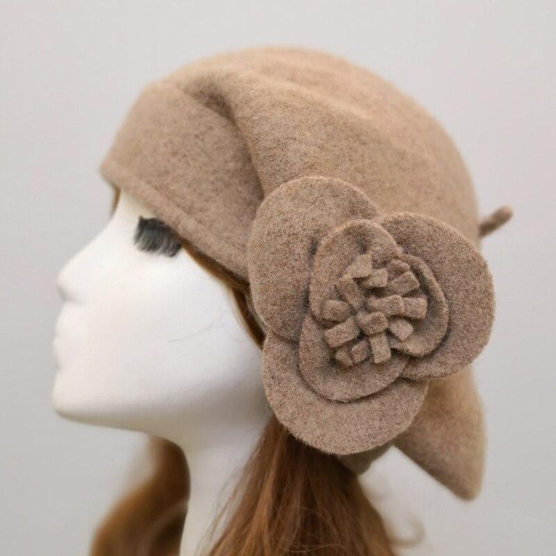 100% Wool Beret Winter Berets Women Winter Felt Beret Floral Women Felt French Beret Beanie Fedora Hat Beanie Winter Flower