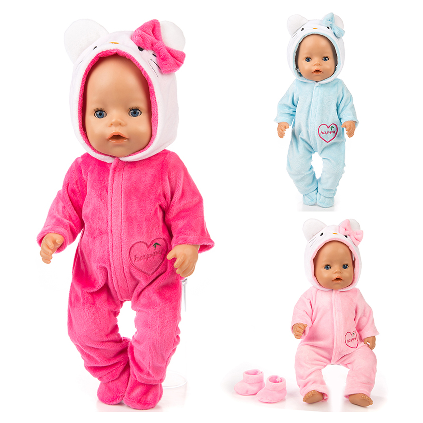 New Warm Cat Jumpsuits+shoes Doll Clothes Fit For 43cm Baby Doll Clothes Reborn Doll Accessories