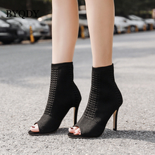 BYQDY Autumn Winter Ankle Woman Boots Open Peep Toe High Heels Shoes Female Breathable Short Boot Dress Lady botas mujer