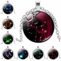 2019 New Handmade Luminous 12 Constellation Zodiac Tricolor Glass Convex Round Handmade Glass Ladies Men's Necklace Jewelry