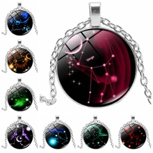 2019 New Handmade Luminous 12 Constellation Zodiac Tricolor Glass Convex Round Ladies Mens Necklace Jewelry