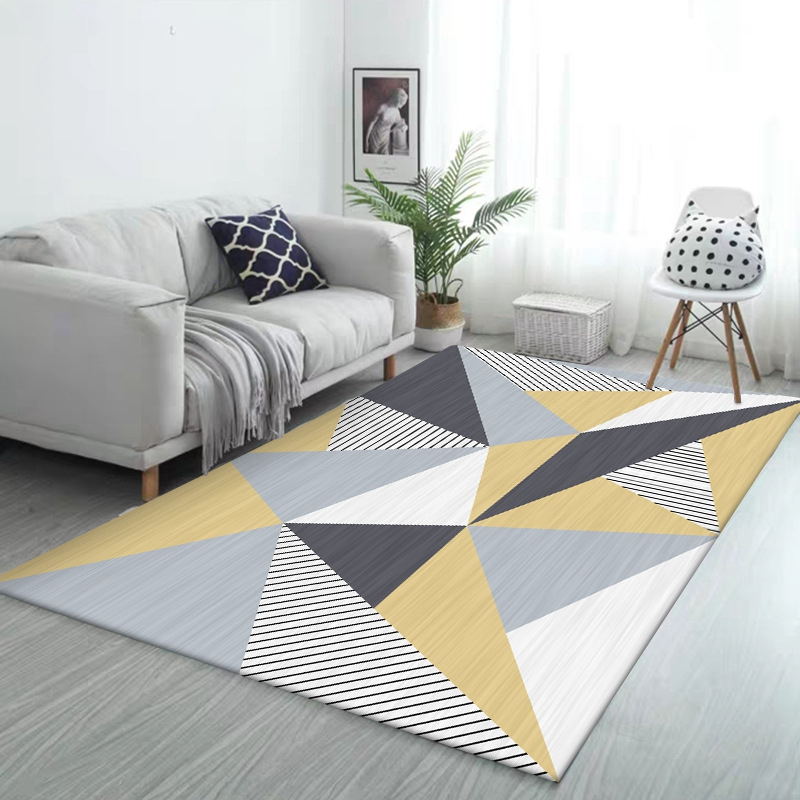 Nordic Carpets For Living Room Children Bedroom Rug And Carpet Yellow Grey Geometric Computer Chair Non-Slip Cloakroom Floor Mat