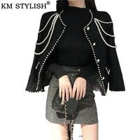 Female Jacket for Women 2019 Early Autumn New Single Breasted Short Jacket Korean Black Pearl Decoration Tweed Coat