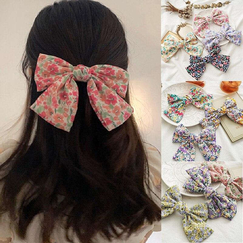 Süße Frauen Frühling Clips Zwei Schicht Schmetterling Barrettes sommer Große Große Bogen Haar Clip Übergroßen Floral Druck Haar Zubehör