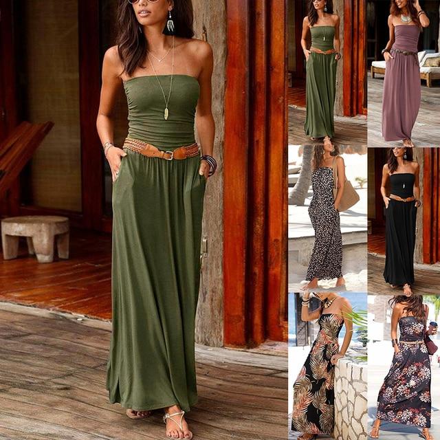 NEDEINS Women Summer Beach Dress Print Neckline Sleeveless Elegant Dress Party Sexy Loose Fashion Stitching Casual Plus Size 2