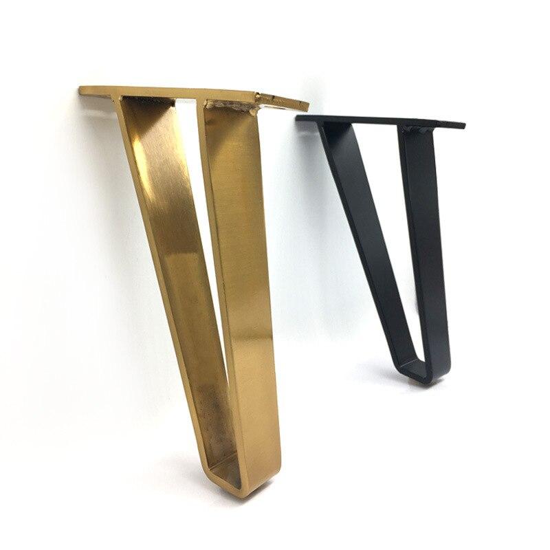 Horquilla de dorada en forma de U soporte de pata de escritorio protector 18CM soporte de hierro sólido pierna para muebles sofá Silla de gabinete herrajes DIY