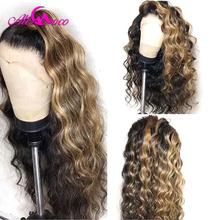 Ali Coco Transparent Highlight koronkowa peruka na przód dziewiczy brazylijski ludzki włos peruki wstępnie oskubane luźna fala peruka dla czarnych kobiet tanie tanio Średni Luźne fale Koronki przodu peruk CN (pochodzenie) Remy włosy Pół maszyny wykonane i pół ręcznie wiązanej