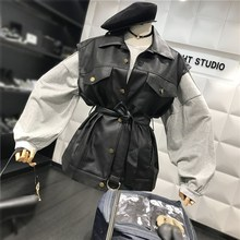 Autumn Winter Women Biker Motos Jacket Button Pu Leather Coat Sleeveless Basic Black Vest Waistcoat