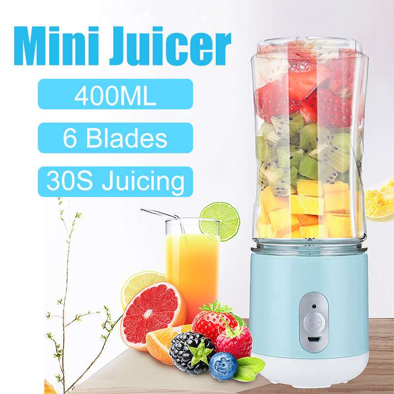 400ML 6 Blades Multifunctional Portable USB Rechargeable Blenders Electric Maker Bottle Cup Fruit Juicer Smoothie Mixing Machine