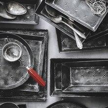Starlight Series Retro Iron Bread Trays Vintage Bread Cake Snack Plate Photography Props Metal Storage Decor Rectangular Pan