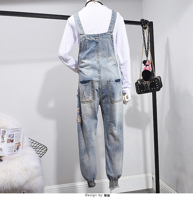 Factory New Design One Piece Trousers Jeans Denim 3D flowers sequin beadings ripped embroidery Jumpsuit overalls Women Suppliers