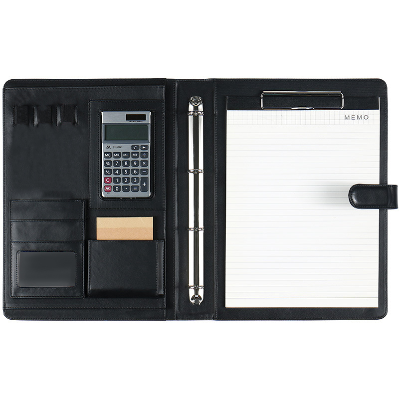 PU Leather A4 File Writing Pad Presentation Folder Portfolio With Calculator For Business IPad/Table Interview Resume Binder