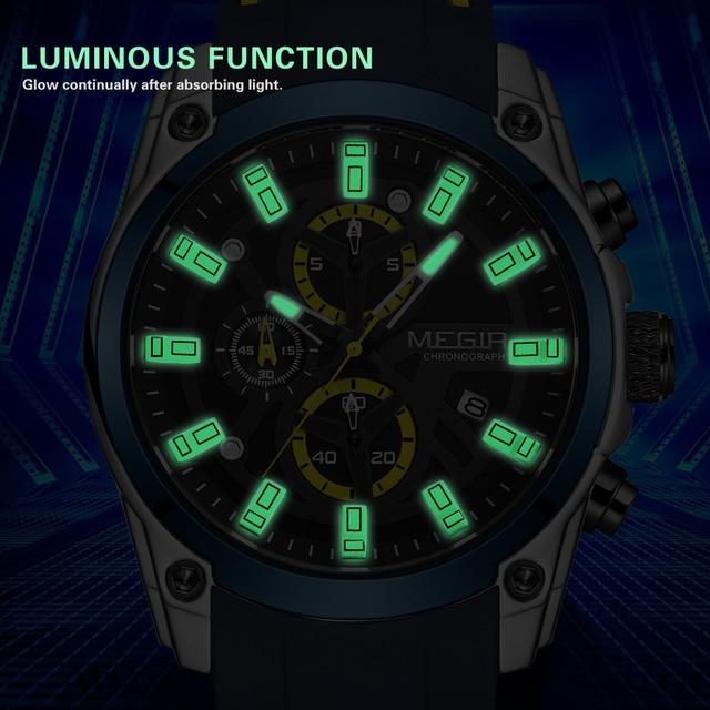 MEGIR 2020 Blue Sport Watches for Men Top Brand Luxury Chronograph Man Watch Military Quartz Clocks Luminous Relogio Masculino 3
