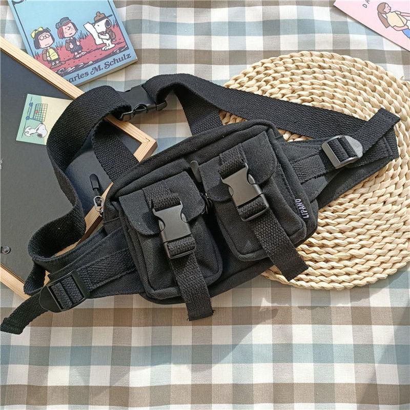 Cool Street Fanny Pack Women's Waist Bag Small Chest Bag Men Waist Pack Phone Banana Bag Canvas Leisure Pouch 2020 New