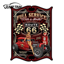 JumpTime 13cm x 9.8cm Hot Girl Texaco Full Service With A Smile Route 66 Hot Rod Pinup Girl Sticker 3D Car Decal Protective Film(China)
