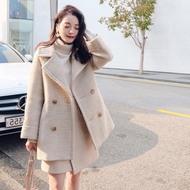 Autumn Winter Women Woolen Blends Two Piece Set Double Breasted Blazer Jacket Mini Skirt Matching Sets Preppy Style Outfits Suit