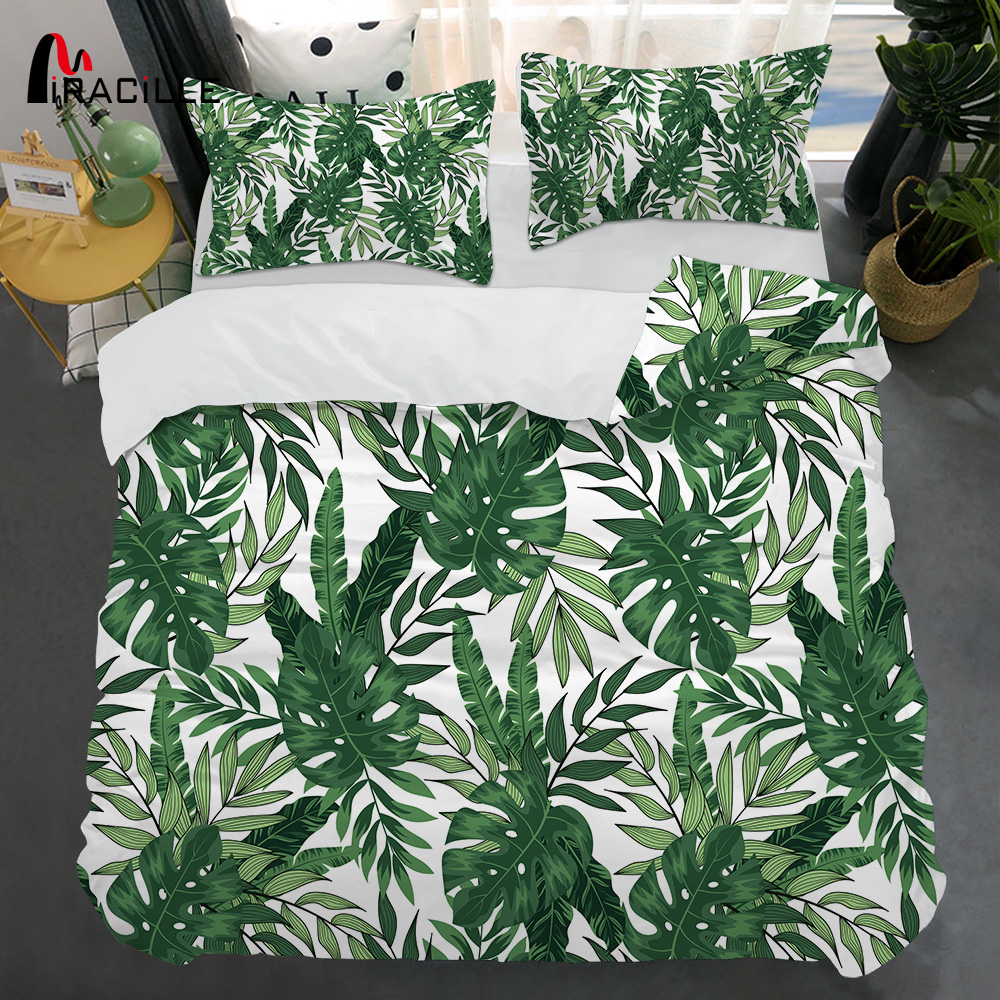 Miracille Tropical Bedding Set Queen Green Blue Leaf Duvet Cover Plant Tree Leaves Bed Cover Botanical Bedspreads 3pcs Wholesale