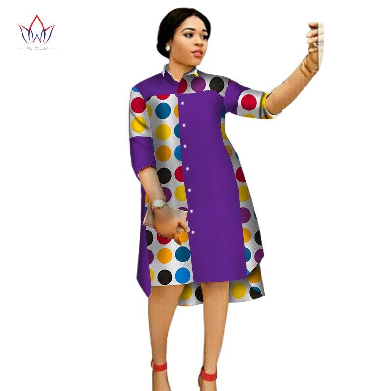 Women Maxi Dress African Print Dresses For Women Three-Quter Sleeve Dress Women Print Clothing Plus Size 6XL BRW WY1756