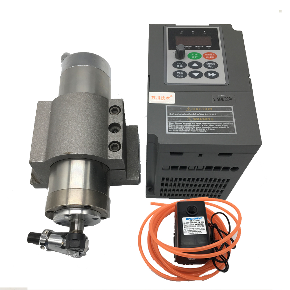 1.2KW Water Cooled AC Spindle Motor Kits 24000rpm ER11 62x202mm 220V 1.5kw Frequency converter VFD Pump Clamp for  ABS PVC|Machine Tool Spindle|   - title=