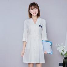 Spring/summer 2020 cosmetologist work coat, mid-sleeve cardigan dress, reception consultant dress