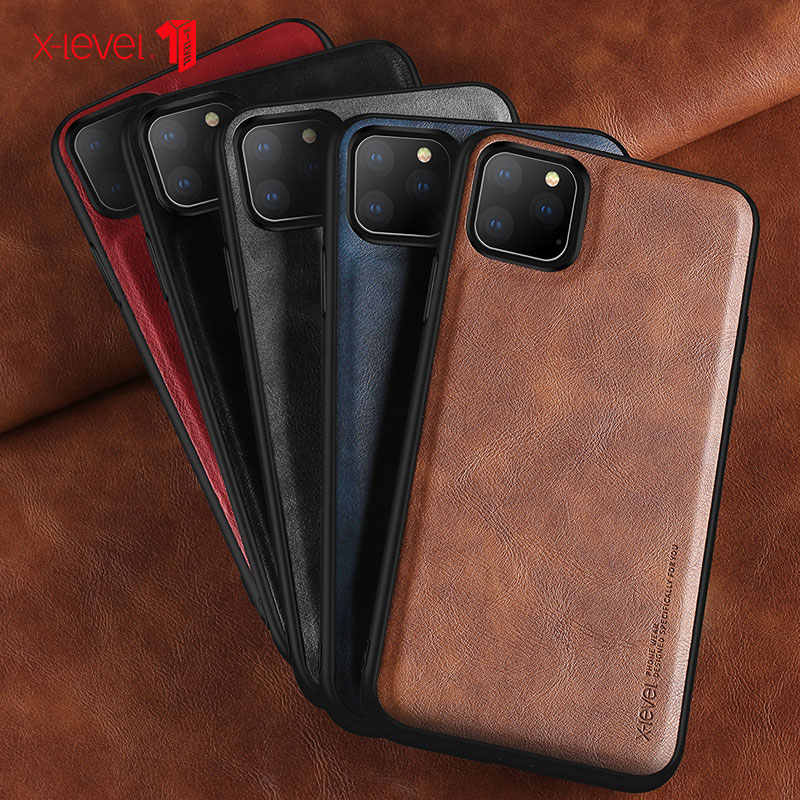 Leather Case Voor iPhone XS 11 Pro Max 8 7P Case Luxe Ultra Licht Zachte Siliconen rand Shockproof Cover coque Voor iPhone X XS XR