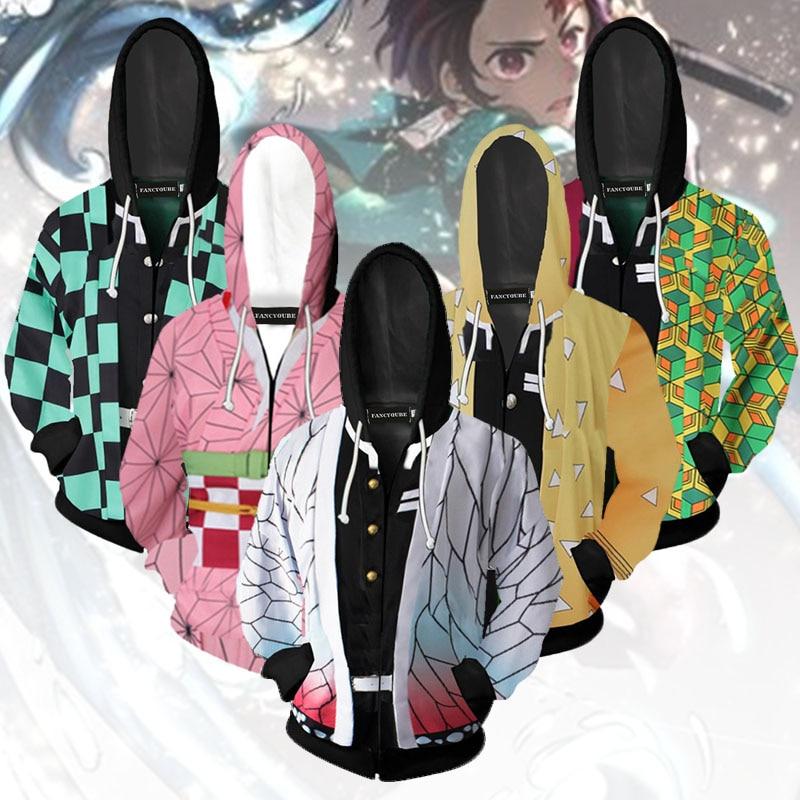 Jaqueta Demon slayer kimetsu no yaiba tanjirou nezuko zenitsu tomioka giyuu cosplay capuz traje anime casaco para festa de halloween