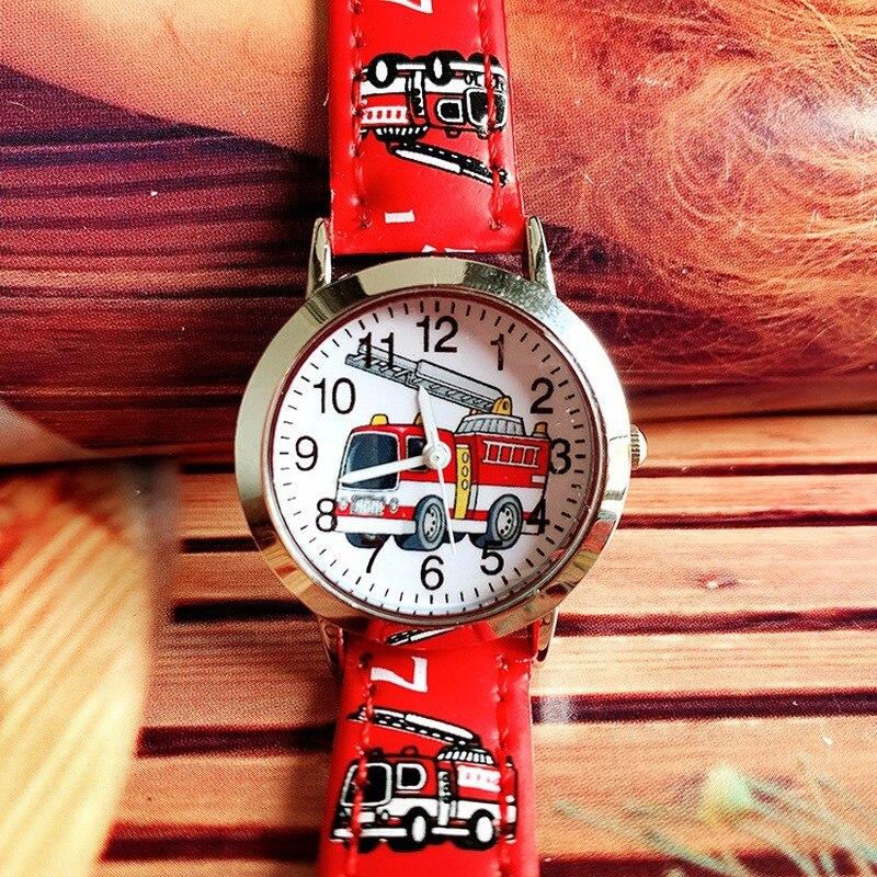 New Cute Kids Cartoon Fire Truck Boy Quartz Belt Watch Gift Watch