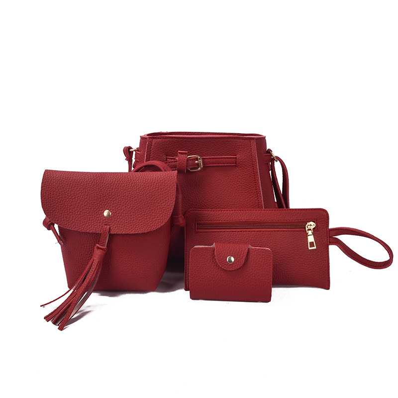4Pcs/Set Tassel PU Leather Shoulder Composite Bag Women Elegant Mini Handbag Phone Day Clutches Fashion Simple Wallet Purse <font><b>H002</b></font> image