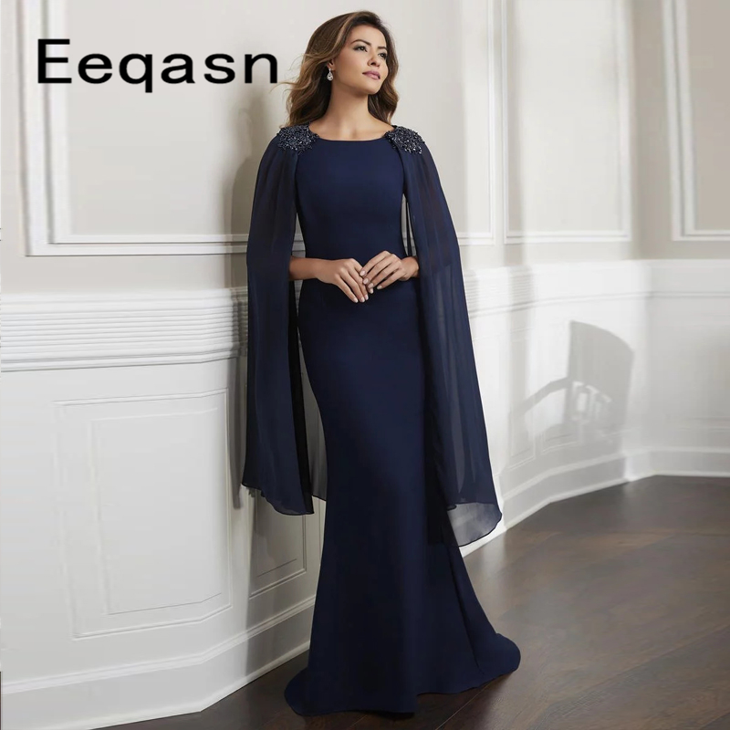 Elegant Navy Blue Long Mermaid Mother Of The Bride Dress For Weddings Party 2020 Beaded Cape Evening Gown Godmother Dresses