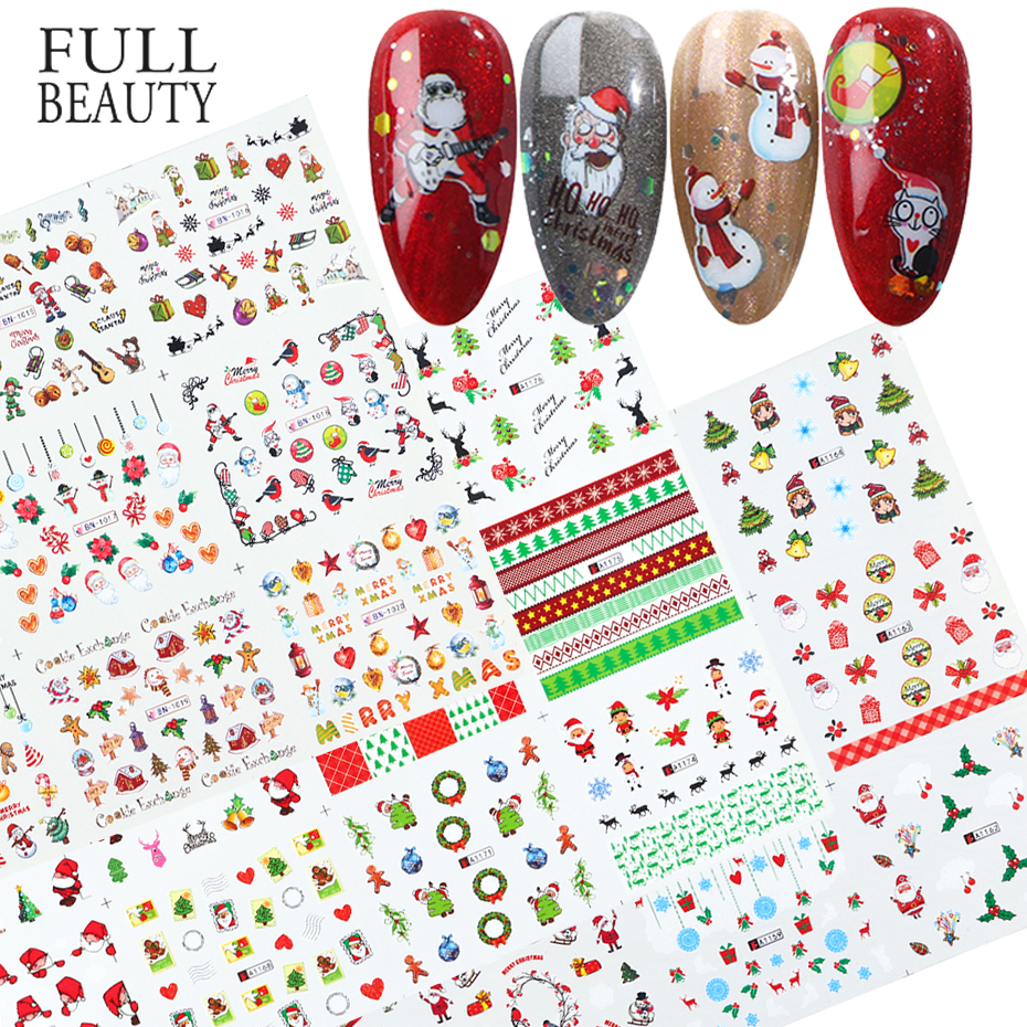 Xmas Cool Santa Stickers For Nails Snowflake Flowers Nail Christmas Stickers Nail Art Winter Adhesive Sliders Manicure CHBN/A 1-in Stickers & Decals from Beauty & Health