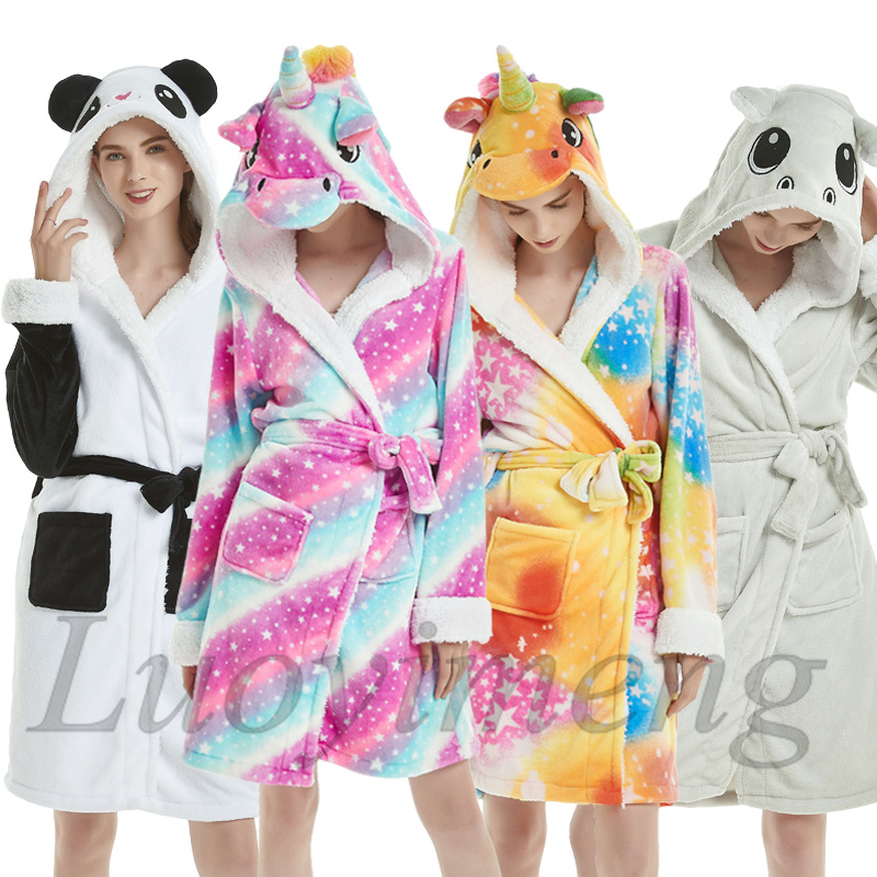 Fluffy Unicorn Bathrobe For Adults