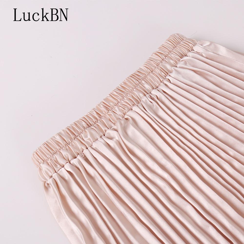 Spring Autumn Skirt New Fashion Women High Waist Pleated Chiffon Skirts Fladas Mujer Moda Half length Elastic Skirt Boho Beach in Skirts from Women 39 s Clothing