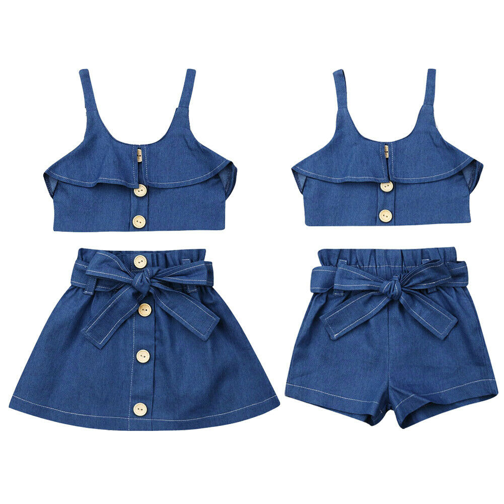 Summer Toddler Kids Girl Clothes Sets 1-6Y Denim Blue Strap Tops Shorts/Skirt Outfits Set Clothes