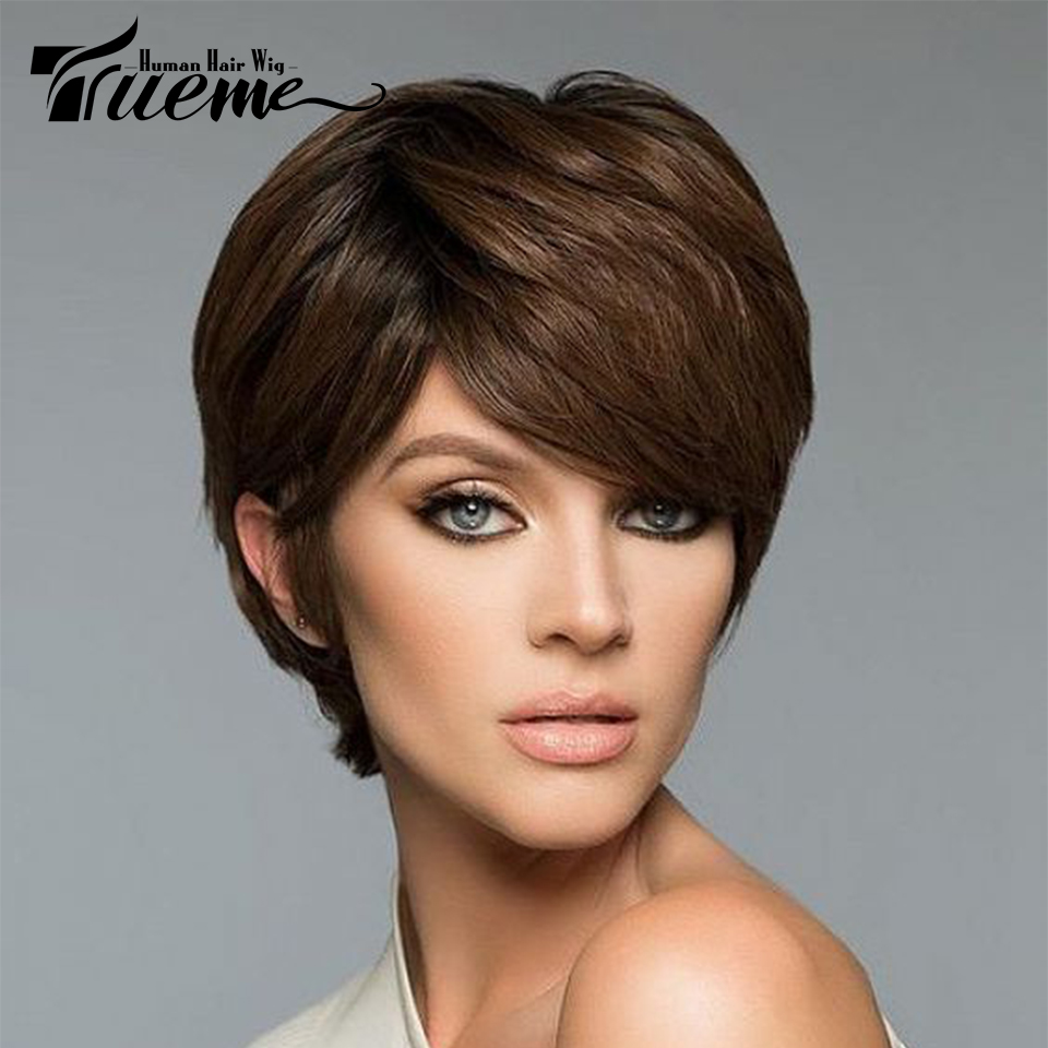 Trueme L Part Lace Wigs For Women Remy Brazilian Human Hair U Part Lace Front Wigs Natural Wave Pixie Cut Hair Short Wigs