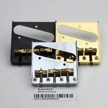 Wilkinson WTB Puente de guitarra eléctrica de estilo Vintage, dorado y negro, plateado y cromado, con sillas de latón para puente de guitarra TL