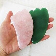 Natural Rose Quartz Jade Stone Guasha Board Pressure Therapy Massage Tools Scraper For Face Gua Sha Body Care With Gift Box