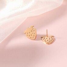 Stud Earrings Strawberry Shape Brincos Elegant Women Girl Fashion Jewelry Accessories Lovely Earring Boucle Doreille Femme