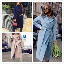 Женское шерстяное пальто больших размеров свободное теплое длинное