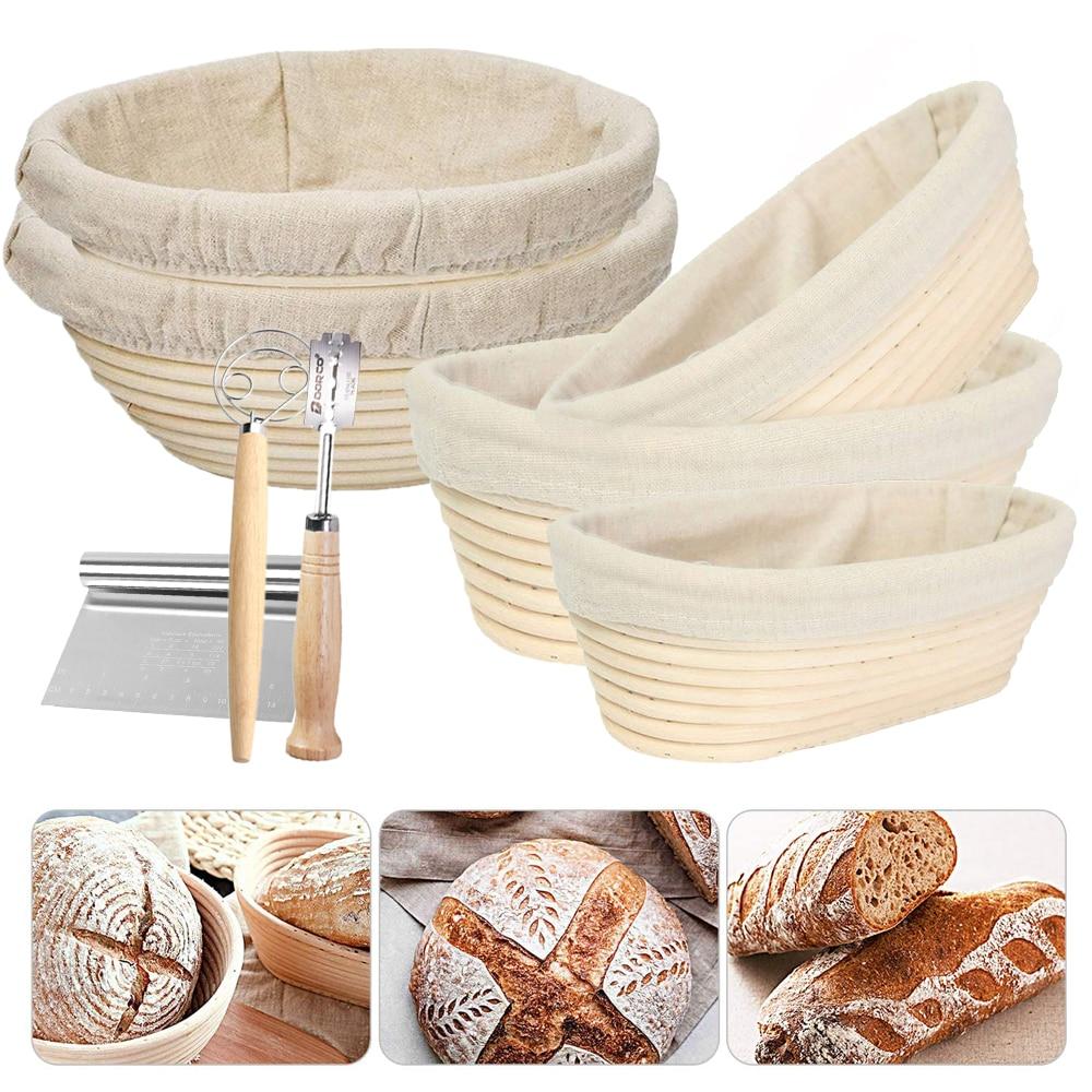 סגלגל/עגול טבעי קש תסיסה לחם סל Banneton בצק נצרים קש המוני הגהה להוכיח סלי קש עם כיסוי