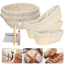 Oval/Round Natural Rattan Fermentation Bread Basket Banneton Dough Wicker Rattan Mass Proofing Proving Baskets Rattan with Cover