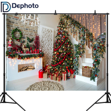 Dephoto Photography Backdrops Christmas Tree Stairs Wooden Floor fireplace Portrait vinyl Photographic Backgrounds Photo Studio