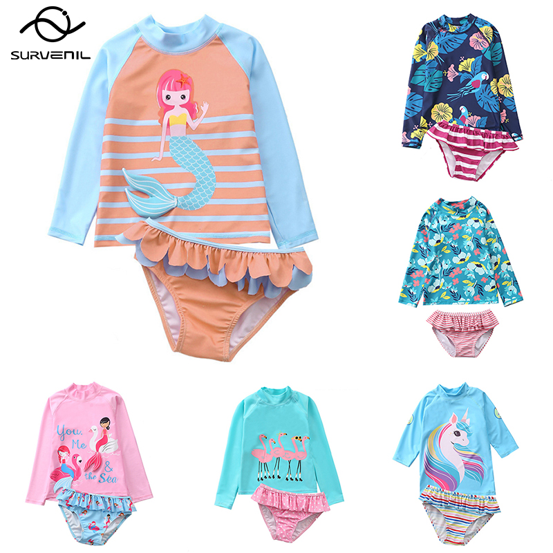 Купальный костюм для девочек Детский комплект с длинными рукавами