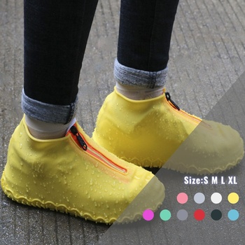 Reusable Silicone Shoe Cover Waterproof Rain Shoes Covers With Zipper Outdoor Thickened Camping Slip-resistant Rubber Rain Boot 1 pair reusable silicone shoe cover waterproof rain shoes covers outdoor camping slip resistant rubber rain boot overshoes new
