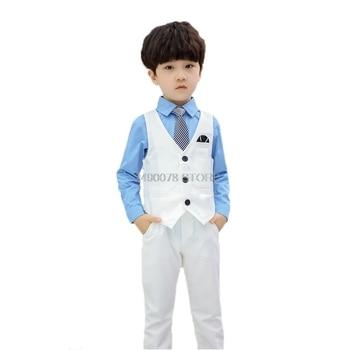 Boys Formal Tuxedo Dress Vest Pants 2pcs Clothing Set Suit kids Wedding Set Children Birthday Gift