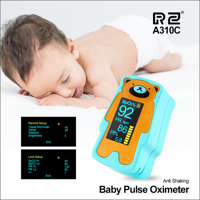 RZ Oximeter ילד נייד אצבע Oximeter אצבע Oximeter ביתי בריאות צגי קצב לב PR SPO2 תינוק Oximeter