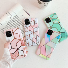Plating Geometric Marble Case For iphone 7 XR 11 Pro Max X XS 8 6 6S Plus Phone Silicone Soft Cover