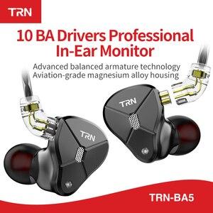 Image 3 - TRN BA5 5BA 10 шт. сбалансированные арматурные наушники вкладыши HIFI металлическая гарнитура с монитором шумовые наушники ZS10PRO ZSX V90 BA8 ZAX