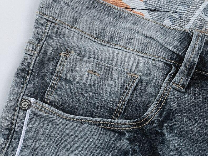 KSTUN Jeans Shorts Mens Grey Jeans Stretch Slim Straight Vintage Casaul Pants Summer Denim Shorts Male Jeans High Quality Brand 15