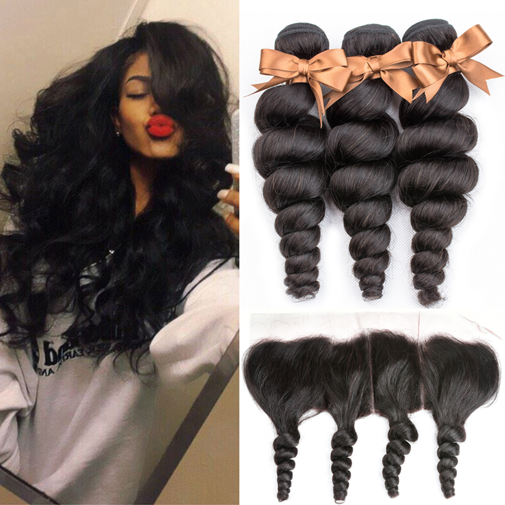 Brazilian Loose Wave With Closure 3 Bundles With 13*4 Free Part Ear To Ear Lace Frontal Remy Brazilian Human Hair Weave Bundles
